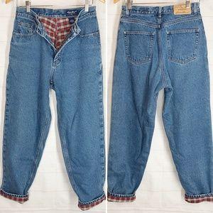 Eddie Bauer Flannel Lined Jeans 10 Blue Denim